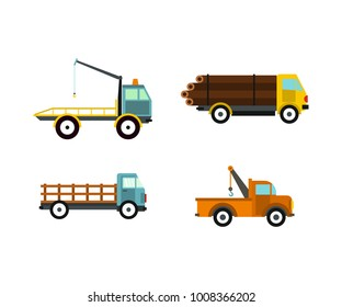 Wrecker icon set. Flat set of wrecker vector icons for web design isolated on white background