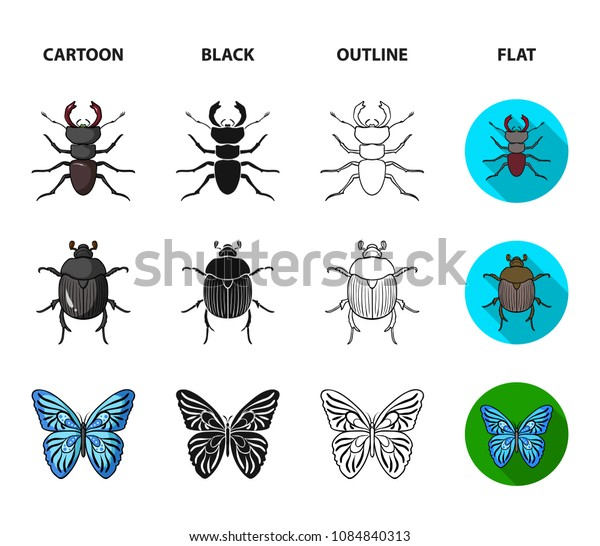 Wrecker, parasite, nature, butterfly .Insects set collection icons in cartoon,black,outline,flat style vector symbol stock illustration web.