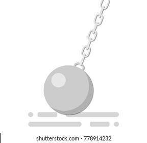 The wrecking ball. Building concept. The wrecking ball icon. Shades of gray. Vector flat illustration.