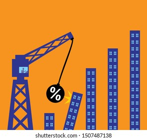 A wrecking ball with a percetage symbol crashing into buildings creating a domino effect. A metaphor on the impact of interest rates on the property market.