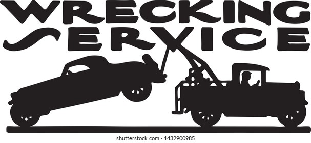 Wrecking Service - Retro Ad Art Banner for Automotive