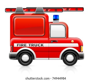 wred fire truck vector illustration isolated on white background