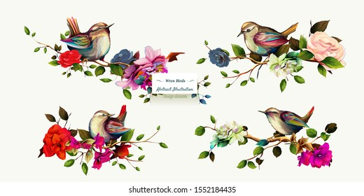 Wren birds on branches with leaves. Set of four pictures. Hand drawn, watercolor, isolated on white. Vector - stock.