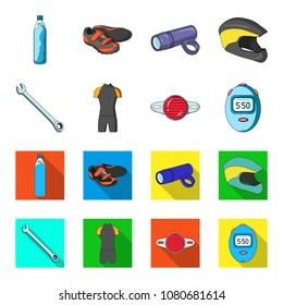 A wrench, a bicyclist bone, a reflector, a timer.Cyclist outfit set collection icons in cartoon,flat style vector symbol stock illustration web.