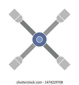 wrench brace tires icon. flat illustration of wrench brace tires vector icon. wrench brace tires sign symbol