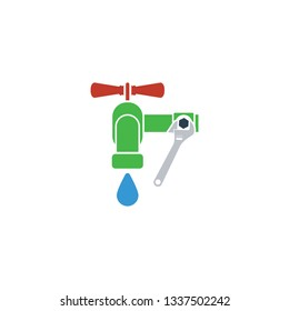 Wrench and faucet icon. Flat design. Vector illustration.