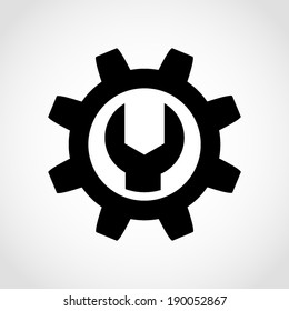 Wrench and Gear Icon Isolated on White Background