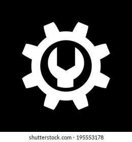 Wrench and Gear Icon Isolated on Black Background