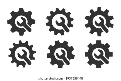 wrench with gear icon set, Service tool symbol, setting sign, isolated on white background, vector illustration