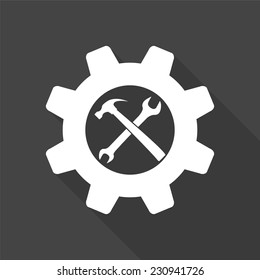 wrench and hammer icon - vector illustration with long shadow isolated on gray