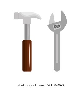 wrench with hammer isolated icon