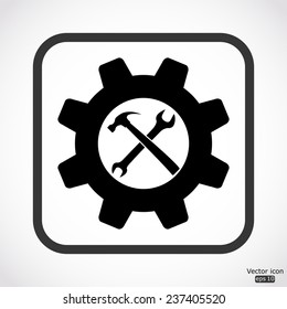 wrench and hammer - settings icon - black vector illustration