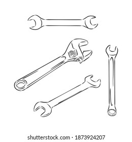 Wrench. Hand drawn in a graphic style. Vintage vector engraving illustration for poster, web. Isolated on white background. wrench vector sketch illustration