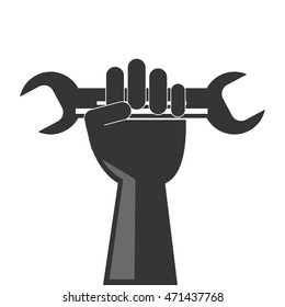 wrench hand tool construction repair icon. Flat and Isolated design. Vector illustration
