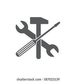 Wrench, hummer and screwdriver icon, service vector illustration