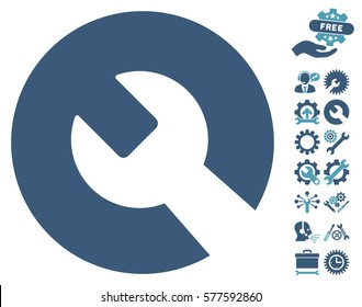 Wrench icon with bonus settings design elements. Vector illustration style is flat iconic cyan and blue symbols on white background.