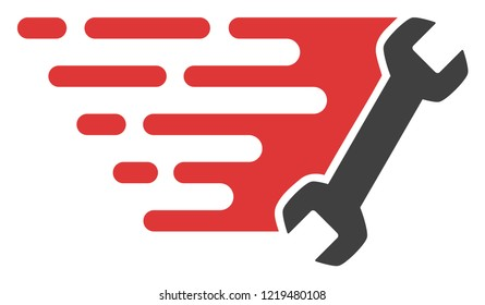 Wrench icon with fast rush effect in red and black colors. Vector illustration designed for modern abstraction with symbols of speed, rush, progress, energy.