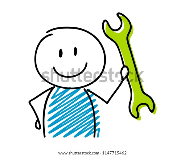 Wrench icon (work an success concept) with smiley stickman. Vector.