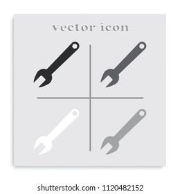 Wrench key sign flat black and white vector icon. Service tool symbol.