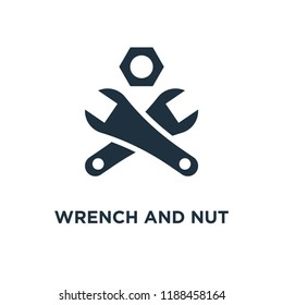 Wrench and Nut icon. Black filled vector illustration. Wrench and Nut symbol on white background. Can be used in web and mobile.
