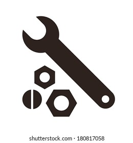 Wrench, nuts and bolt icon isolated on white background