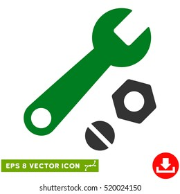 Wrench and Nuts EPS vector pictogram. Illustration style is flat iconic bicolor green and gray symbol on white background.