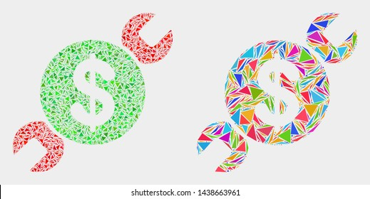 Wrench repair price collage icon of triangle elements which have variable sizes and shapes and colors. Geometric abstract vector illustration of wrench repair price.