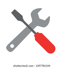 Wrench and screwdriver Flat icon. Flat style sign for mobile concept and web design. Manual setting tool vector icon. Symbol, logo illustration. Pixel perfect vector graphics
