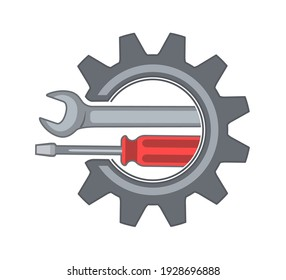 Wrench and screwdriver with gear symbol. Flat style vector illustration.