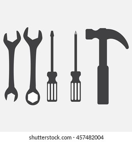 Wrench, screwdriver and hammer. Tool icons