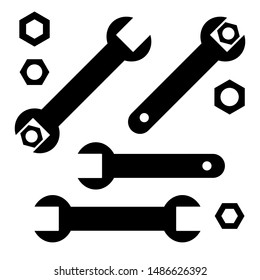 Wrench tighten the nut, wrenches and nuts set, black isolated on white background, vector illustration.