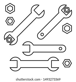 Wrench tighten the nut, wrenches and nuts set, black line icons isolated on white background, vector illustration.