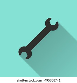 Wrench vector icon with long shadow. black Illustration isolated on green background for graphic and web design.