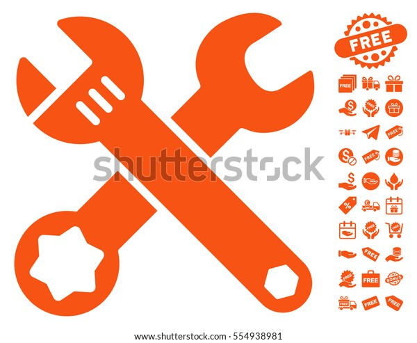 Wrenches pictograph with free bonus pictograms. Vector illustration style is flat iconic symbols, orange color, white background.