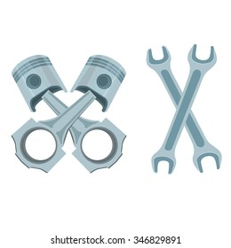 Wrenches and pistons Pistons and rods  on white background