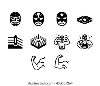Wrestler Fighter Vector Icon Set