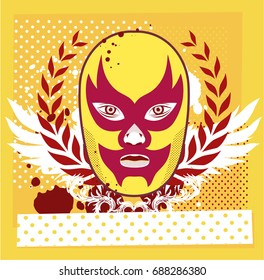 Wrestler head with halftone background. Editable vector illustration.
