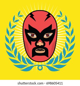 Wrestler head with wreath. Editable isolated illustration.