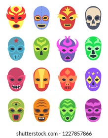 Wrestler masks. Mexican martial fighters sport clothes colored lucha libre masked vector collection
