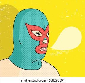 Wrestler portrait vector illustration.