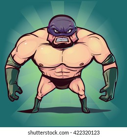 wrestler in pose, fighter, man, angry, fury, cartoon character, vector illustration