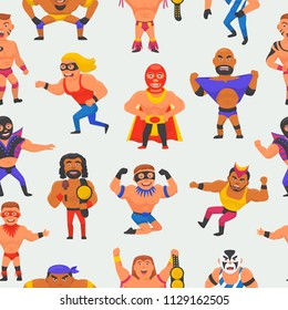 Wrestler vector masked man character and masking luchador in wrestling fight illustration set of wrestle sportsman in costume seamless pattern background