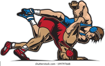 freestyle wrestling images stock photos vectors shutterstock rh shutterstock com Wrestling Drawings Wrestling Silhouette