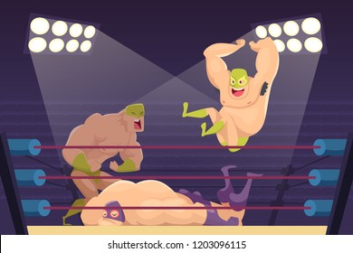 Wrestlers fighting. Sport cartoon mortal background with combat characters luchadors vector mascots. Illustration of wrestler sport on ring, fighting mortal combat