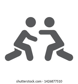 Wrestling glyph icon, sport and combat, wrestlers fighting sign, vector graphics, a solid pattern on a white background, eps 10.