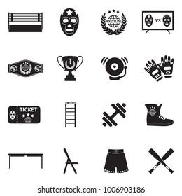 Wrestling Icons. Black Flat Design. Vector Illustration.