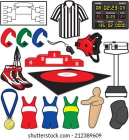 Wrestling Items. Equipment used in the sport of Wrestling.