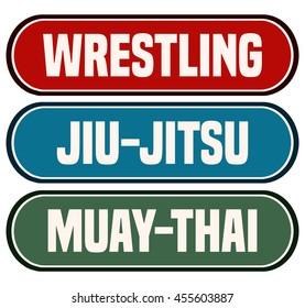 Wrestling, Jiu-Jitsu and Muay-Thai Tag Signs, Vector Illustration.