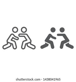 Wrestling line and glyph icon, sport and combat, wrestlers fighting sign, vector graphics, a linear pattern on a white background, eps 10.