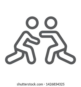 Wrestling line icon, sport and combat, wrestlers fighting sign, vector graphics, a linear pattern on a white background, eps 10.